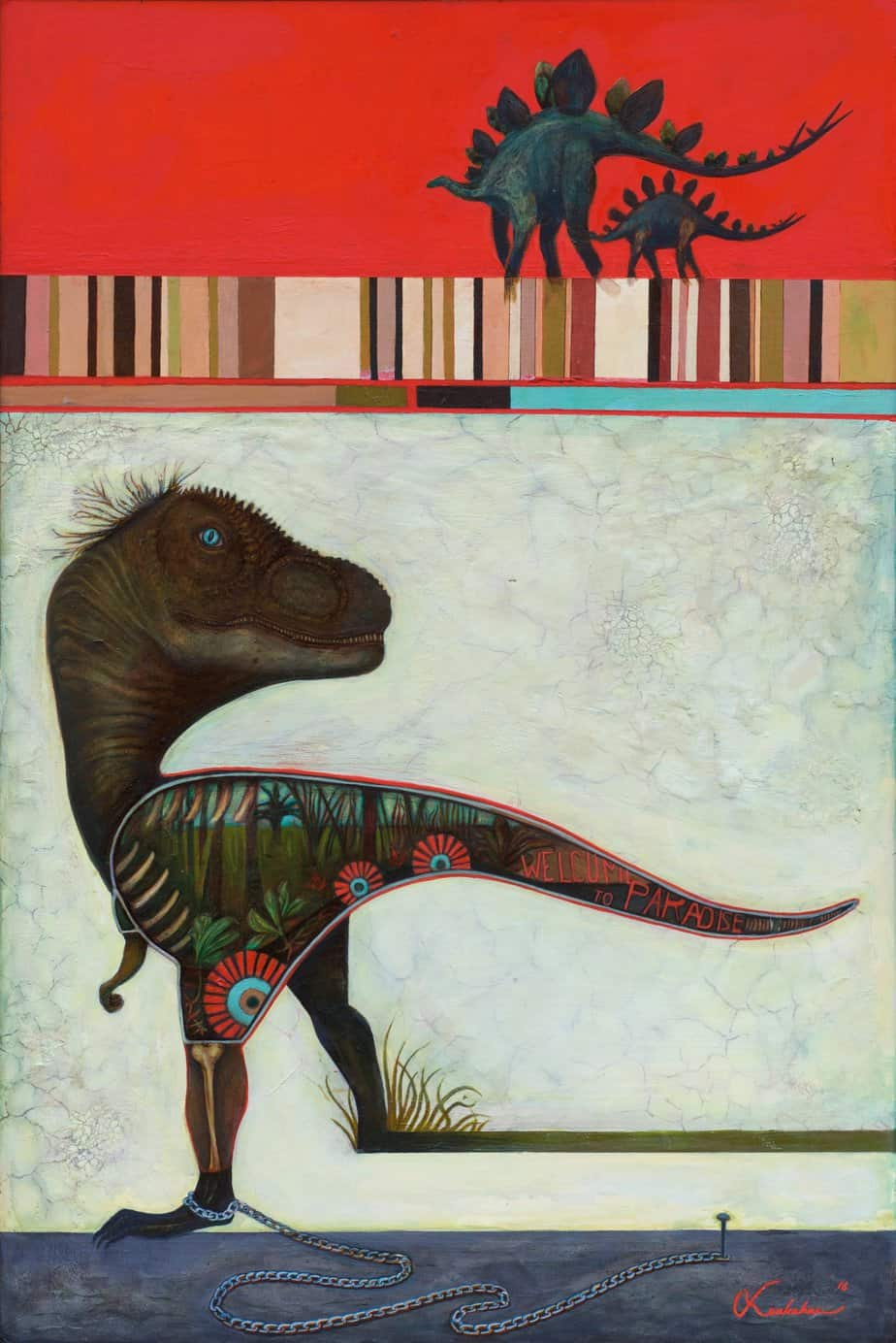 Paradise Tamed T-rex Surreal Painting Art Framed