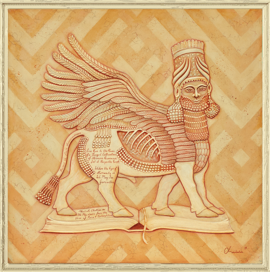 Great Lamassu, Protect Us | Carved Painting on Wood
