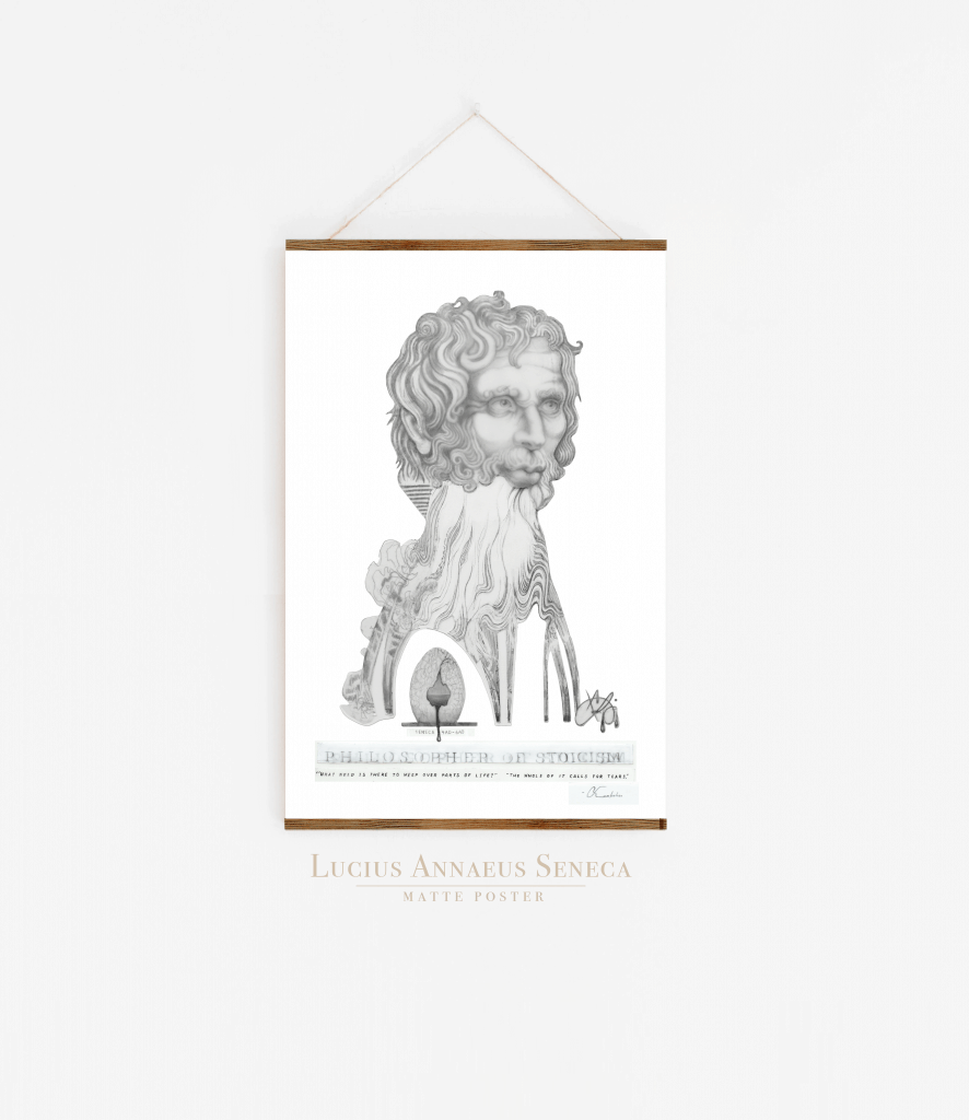 Seneca Stoicism Illustration | Liberating Art| Akashic Drips | Print