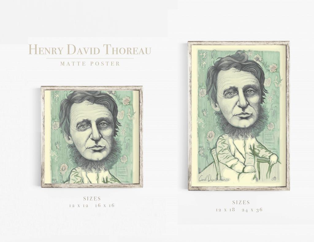 Henry David Thoreau Painting Illustration Quote Art Print
